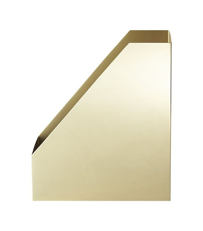 CB2 Pilar Gold Magazine Holder