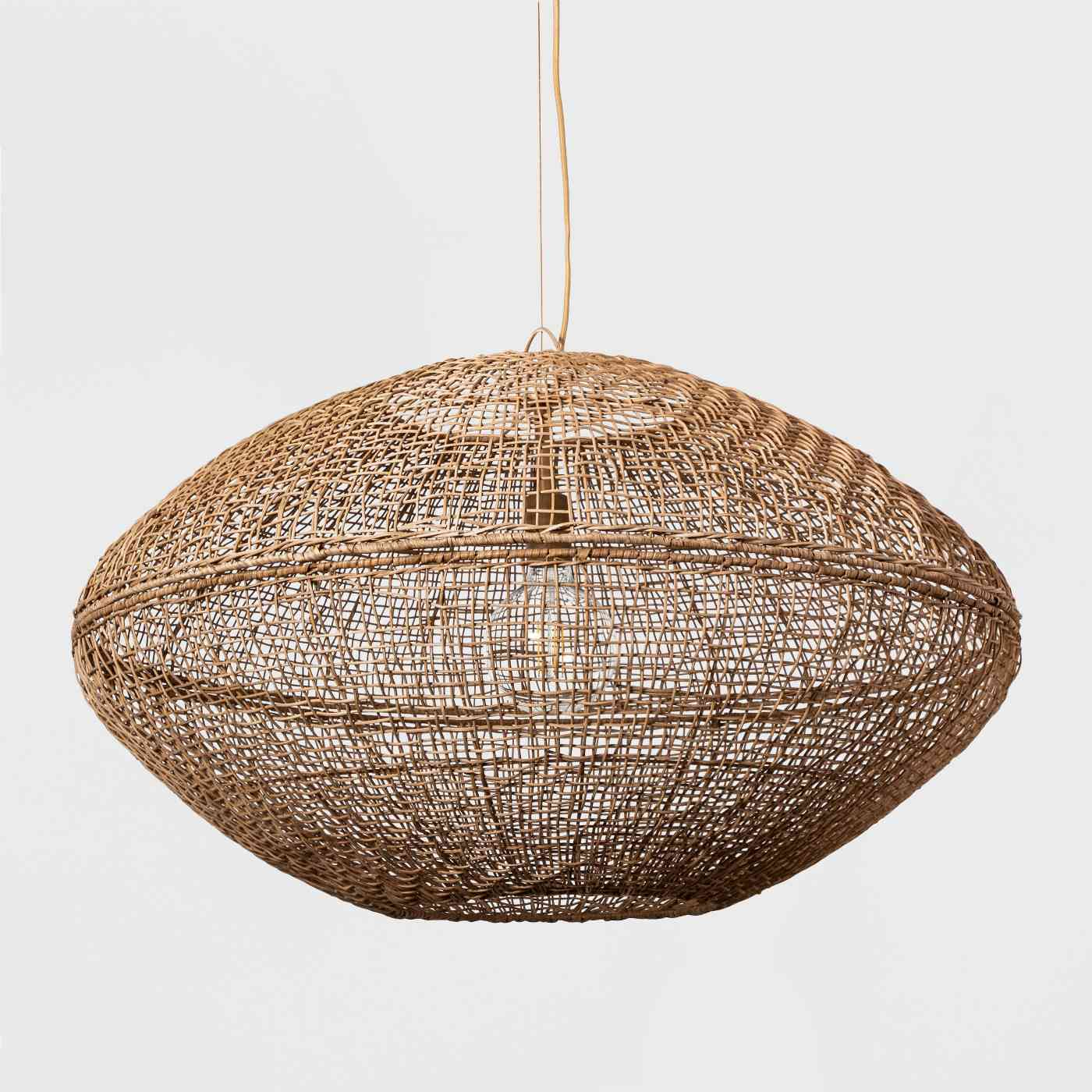 Natural Woven Oblong Pendant Lamp