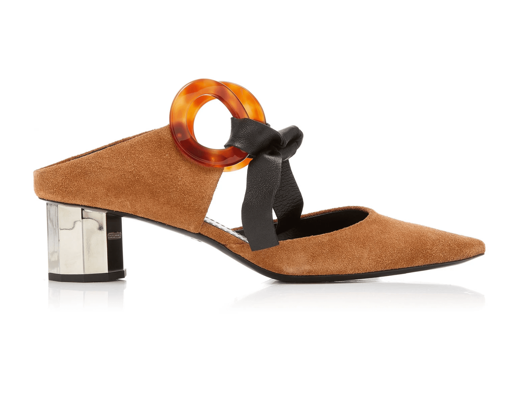 Proenza Schouler Leather-Trimmed Grommet-Embellished Suede Mules