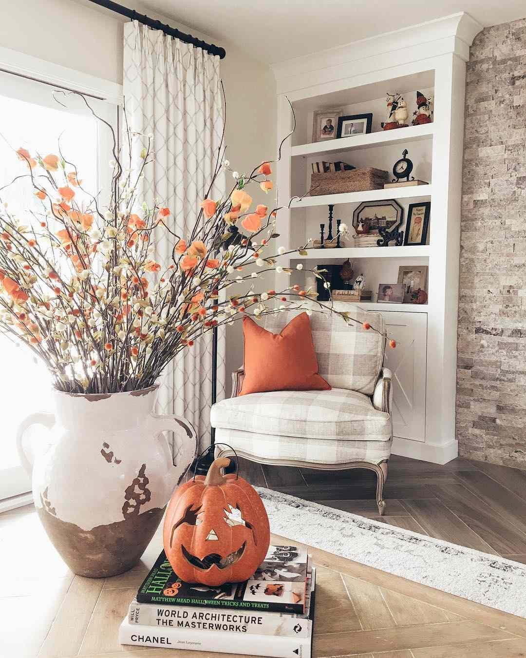 Orange blooms and pumpkin