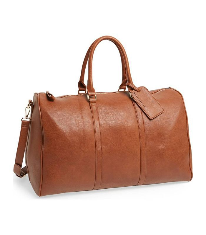 'Lacie' Faux Leather Duffel Bag - Brown