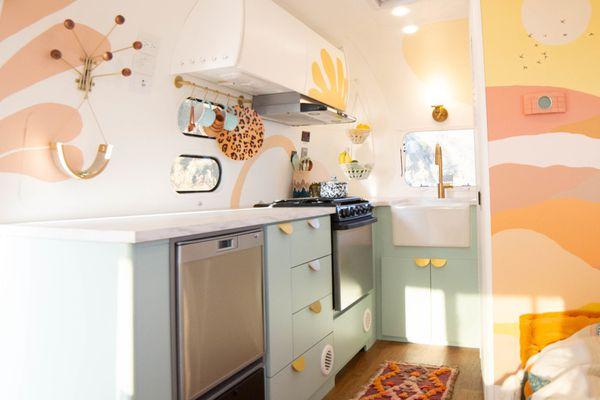 Bright and playful Airstream interior.