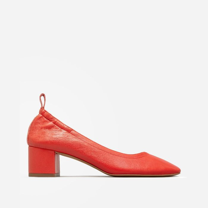 Women's Leather Block Heel Pump by Everlane in Bright Red, Size 11
