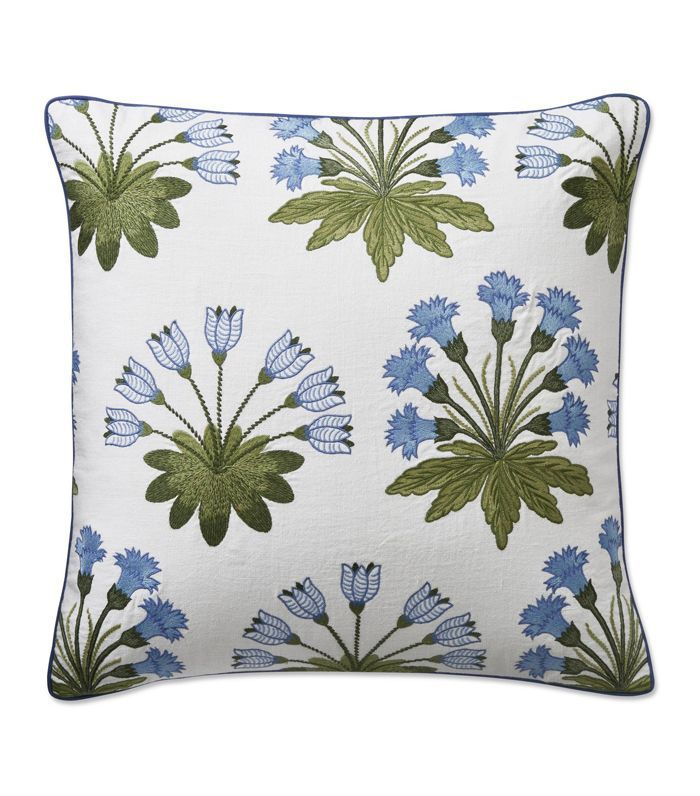 Aerin Blue Blossom Tile Pillow Cover