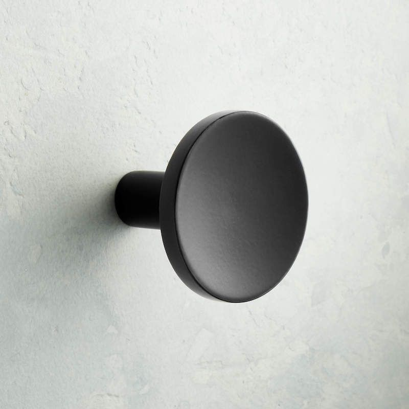 A matte black knob, currently for sale at CB2
