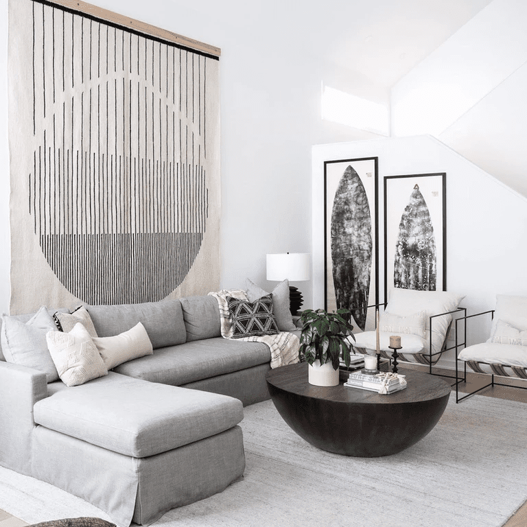 Living room with large fabric hanging