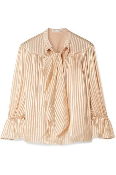 Alice and Olivia Danika Pussy-Bow Striped Satin and Chiffon Blouse