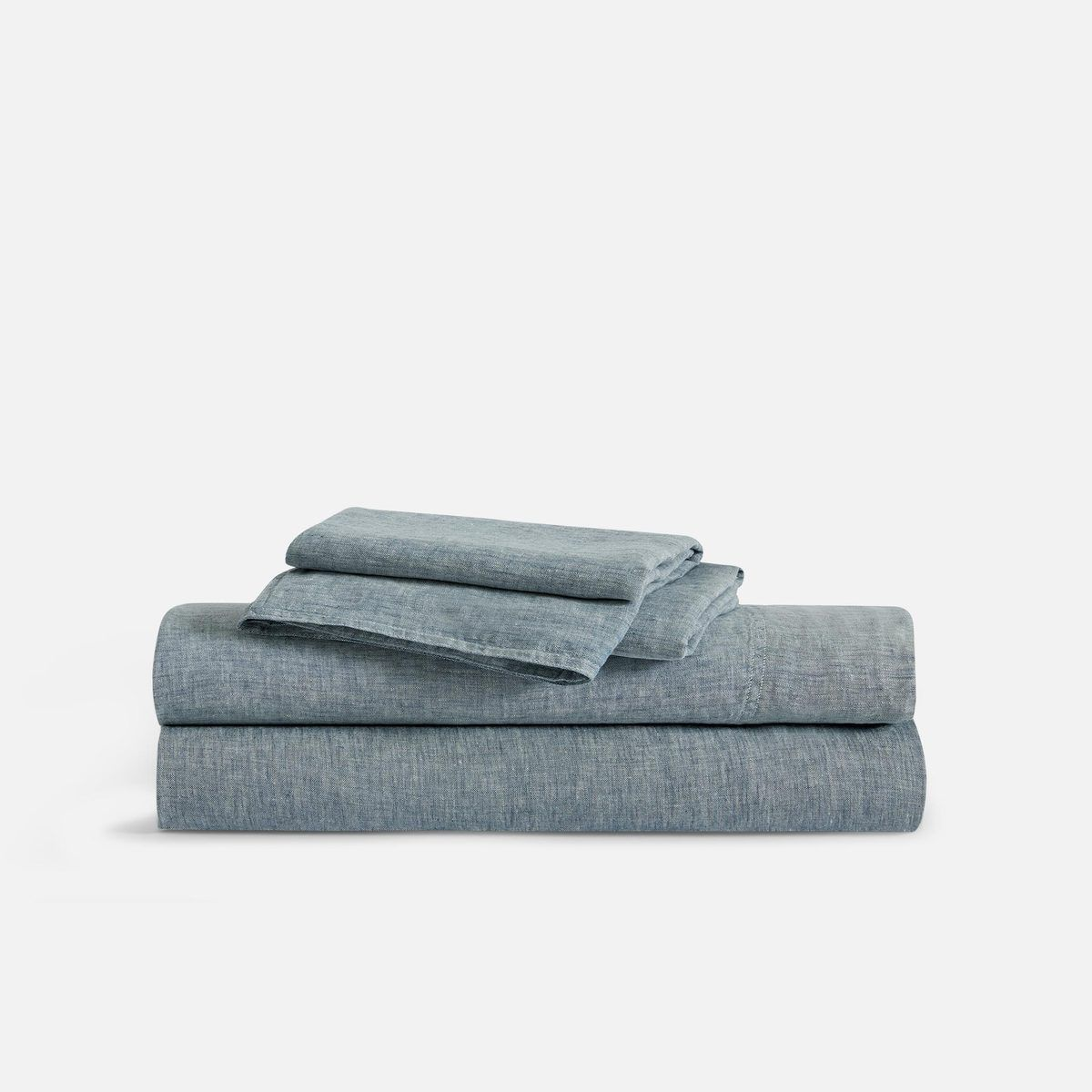 Soft Linen Sheet Set in Navy Chambray