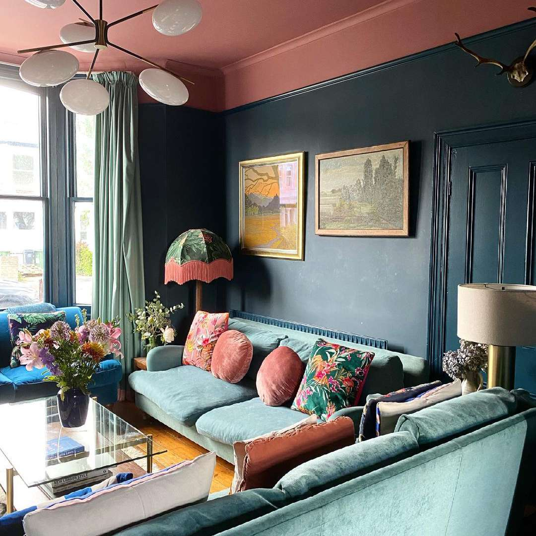 living room with painted ceiling