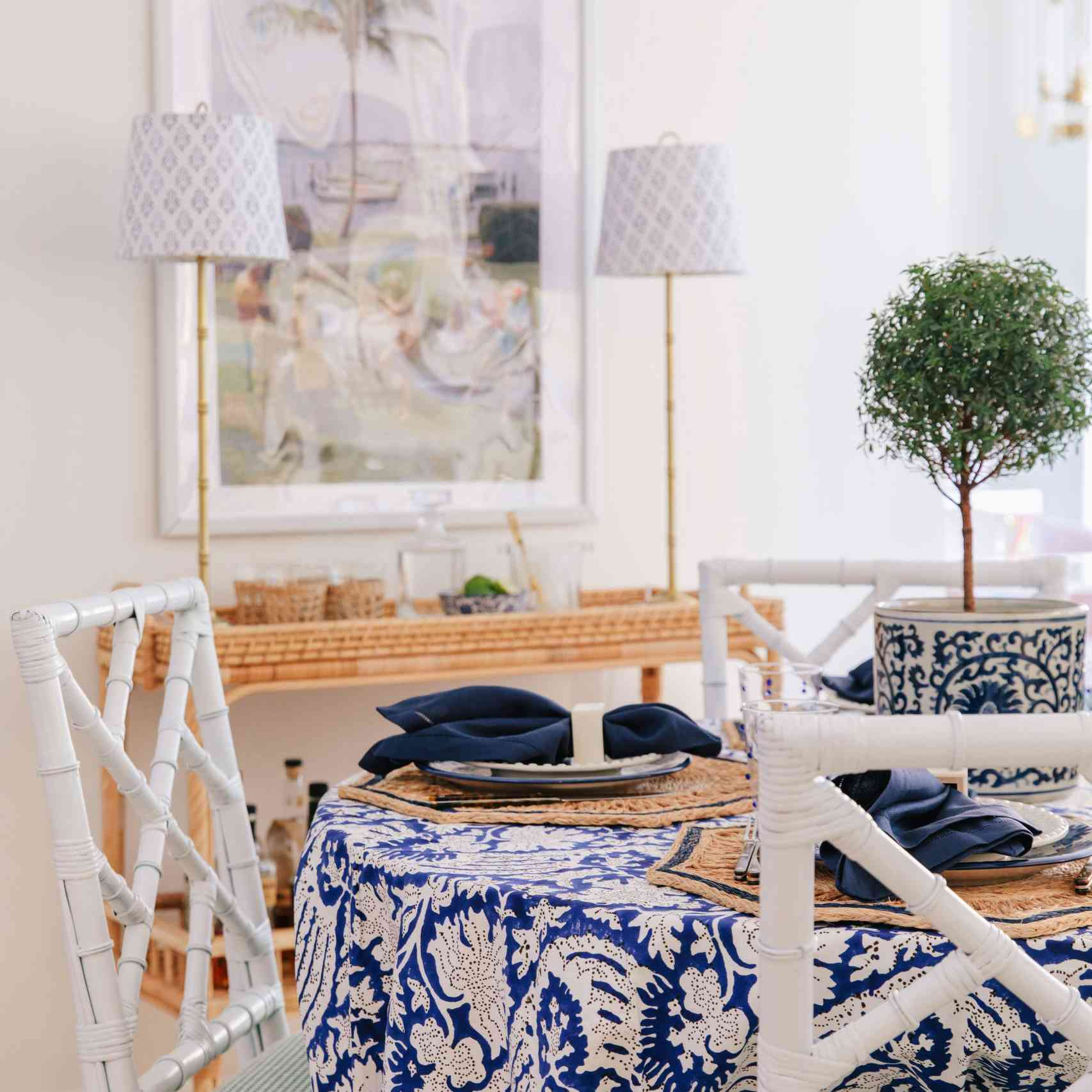 Dining set with vintage table cloth.