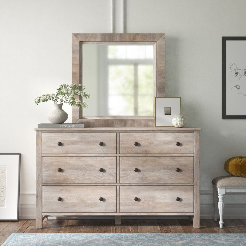 Kelly Clarkson Home Natural Gray Aguirre 6 Drawer Dresser with Mirror