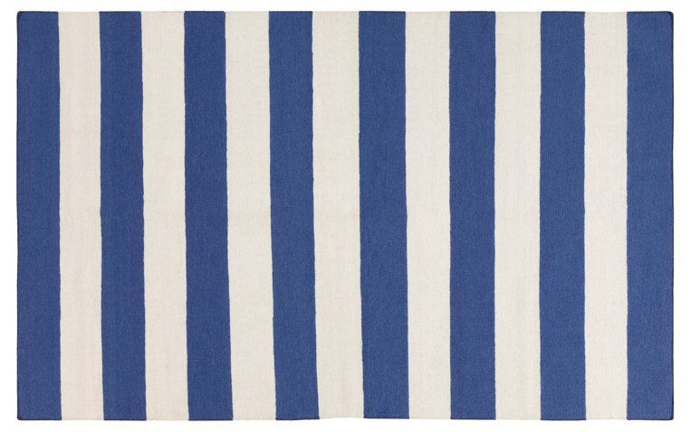 Blue Striped Flat Weave Rug