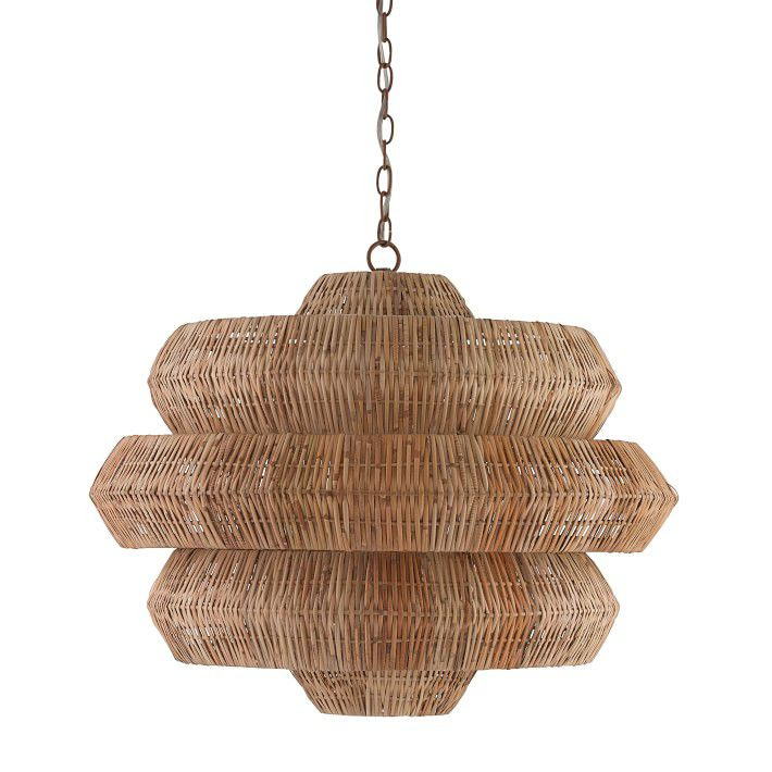 A sculptural woven chandelier, currently for sale at Williams Sonoma