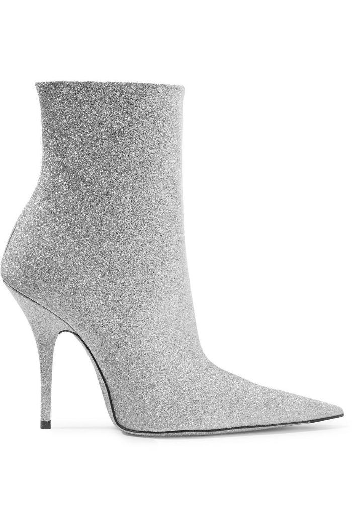 Balenciaga Knife Glittered Leather Ankle Boots