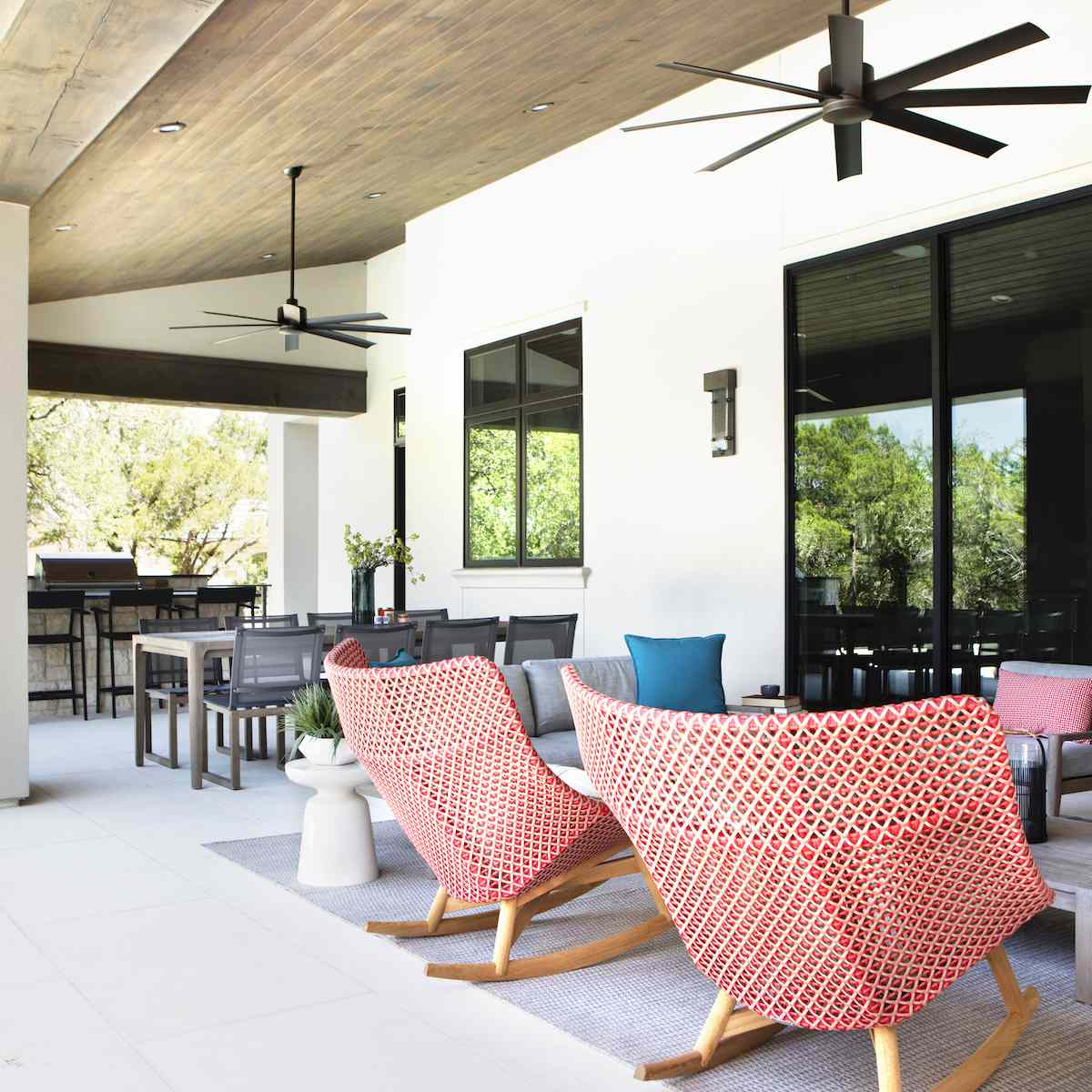 Outdoor deck with pink chairs