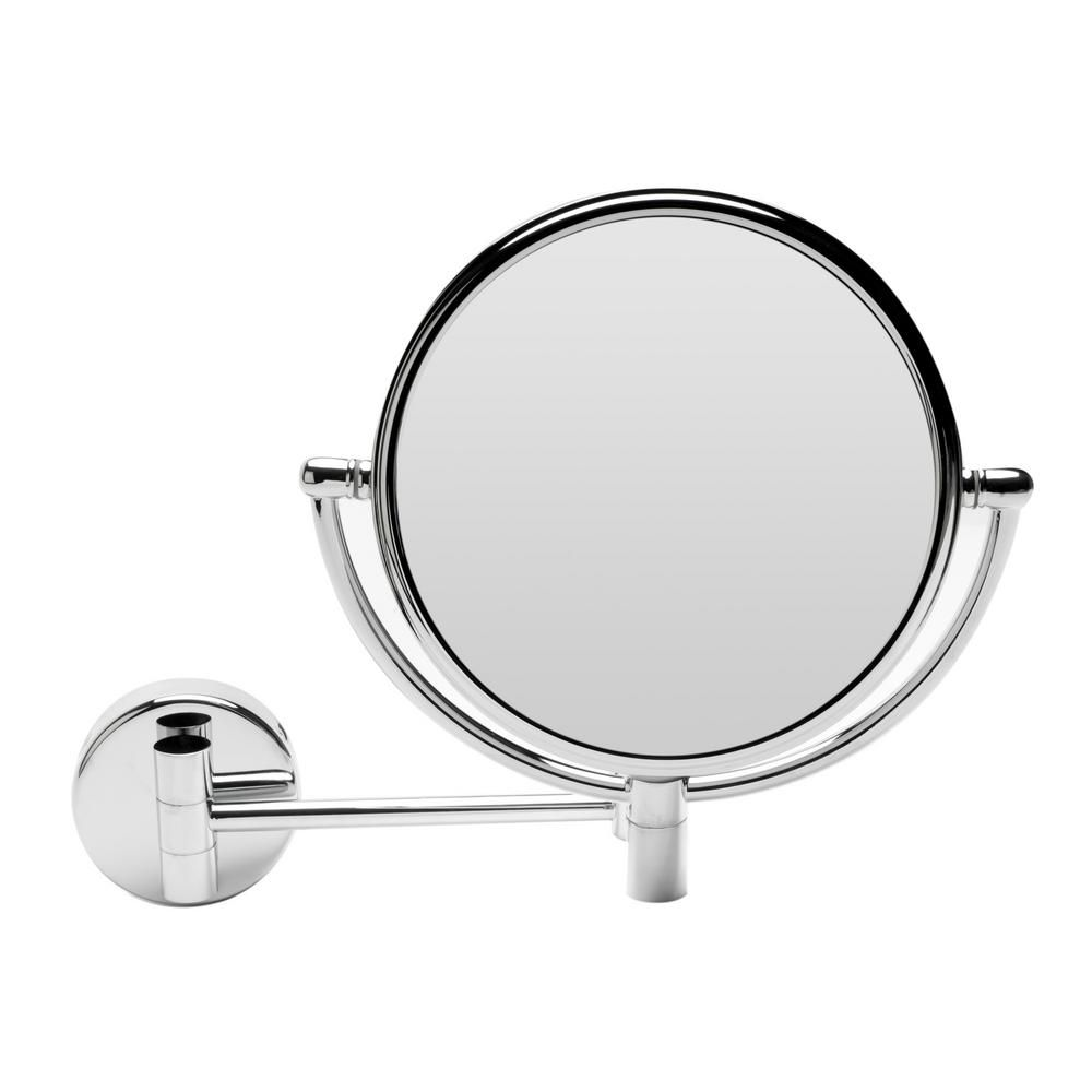 Alfi Brand Round Framed Wall Mounted 5X and 0X Mirror in Polished Chrome