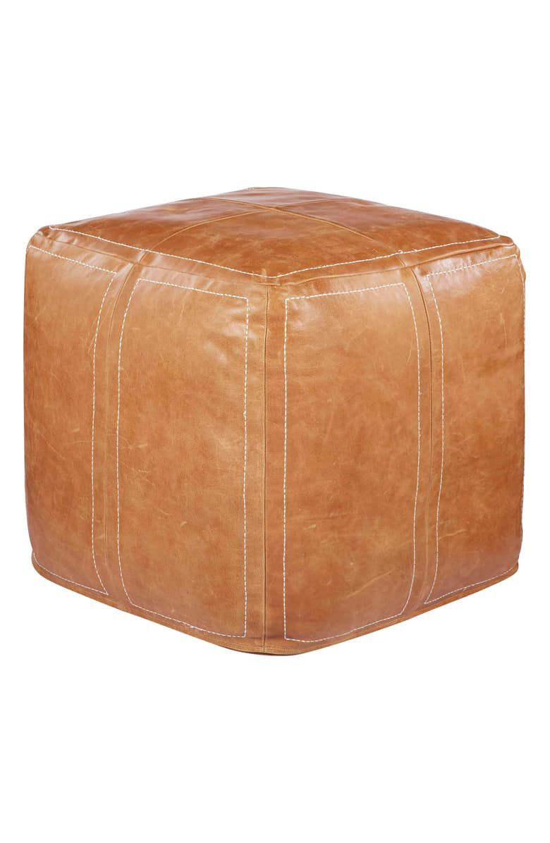 Leather Accent Pouf