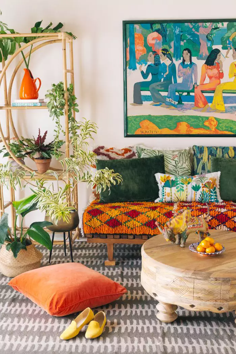 Bohemian living room with various prints, colors, textures