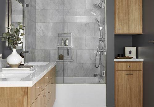 Bathroom with wooden vanity