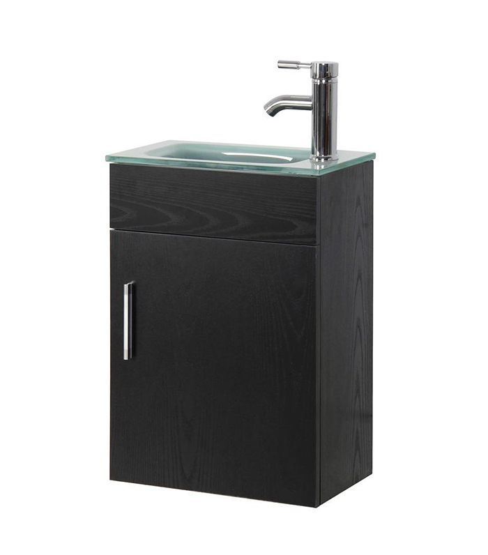 Sheffield Home Vanity in Black With Tempered Frosted Glass Top
