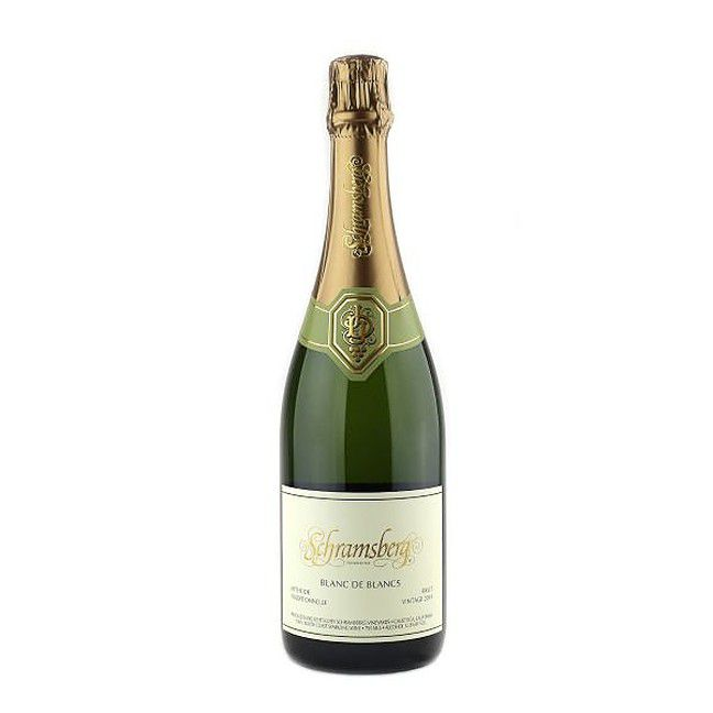 Bottle of champagne set against a white background.