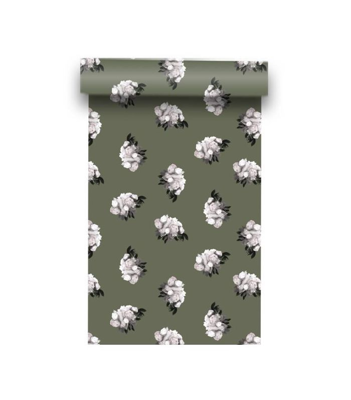 August Abode Peonies Wallpaper in Loden