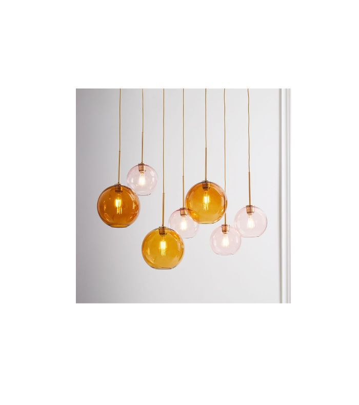 Sculptural Glass Globe 7-Light Chandelier - Mixed