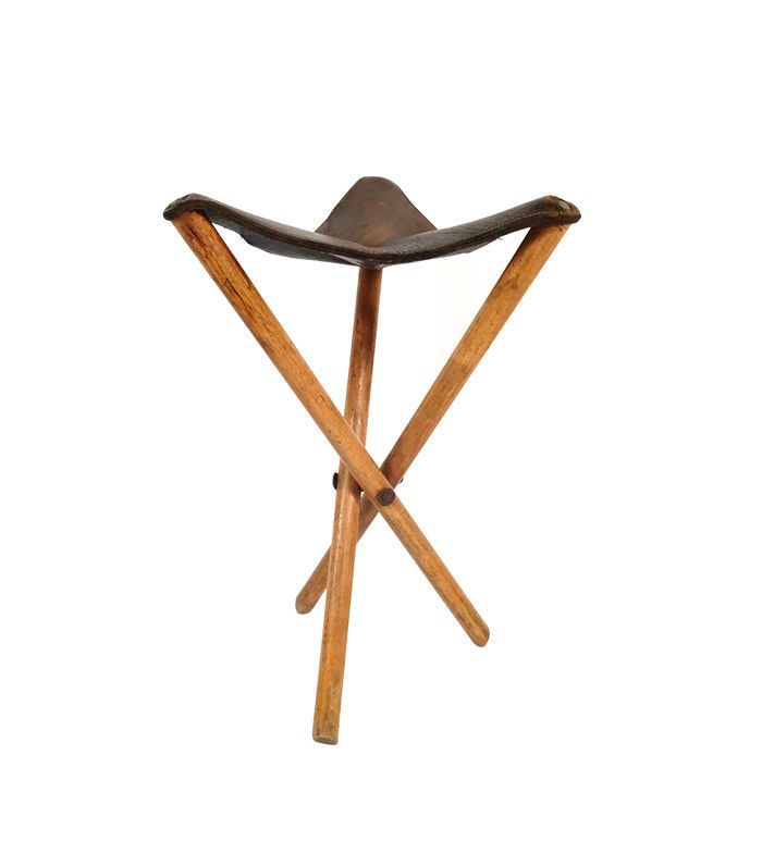 The Fifth Hand Shop Vintage Leather Tripod Stool