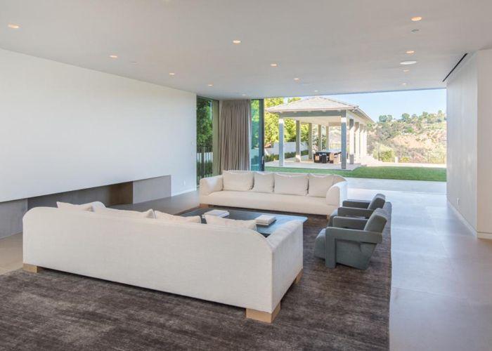 living room in Kim Kardashian and Kanye West's Bel Air estate