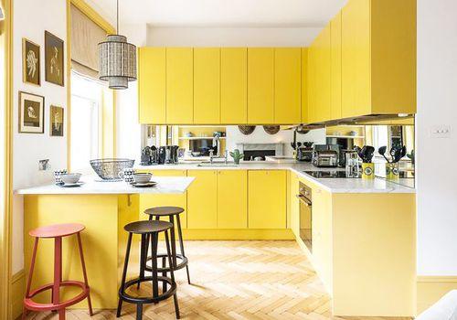 Color de pintura amarilla en cocina