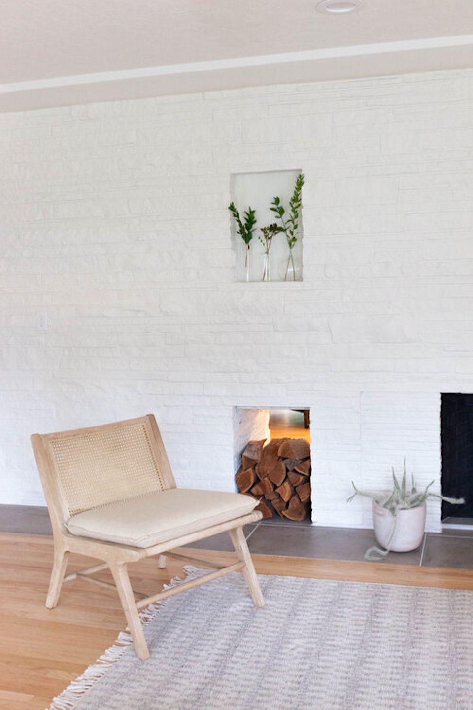 Crisp white fireplace.