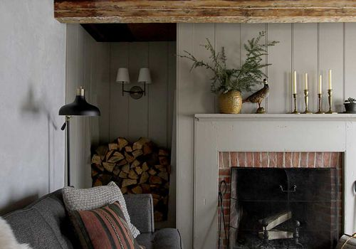 Cozy brick fireplace.