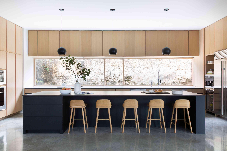 Modern open layout wooden kitchen.