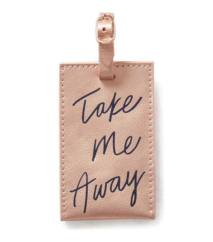 Anthropologie Take Me Away Leather Luggage Tag