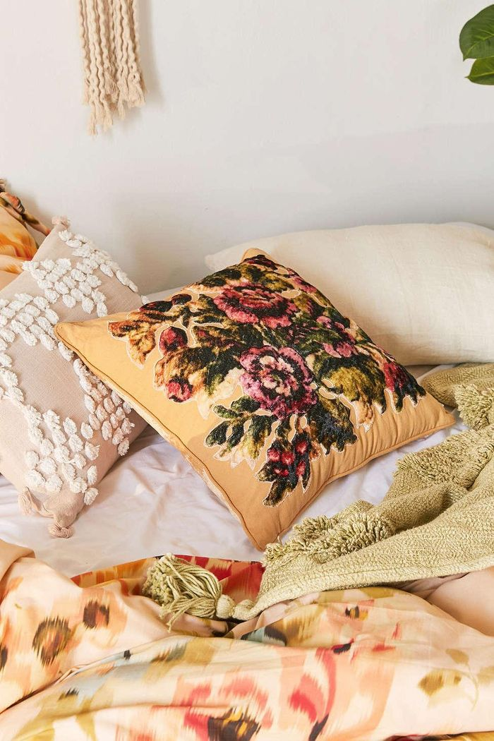 Urban Outfitters Paula Floral Velvet Throw Pillow