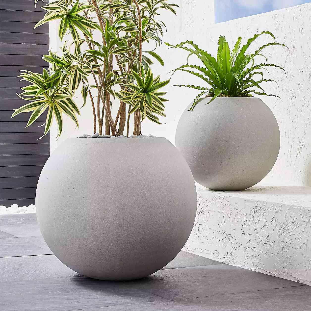 Crate & Barrel Sphere Large Light Grey Indoor/Outdoor Planter