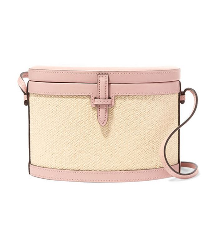 Trunk Woven Raffia and Leather Shoulder Bag