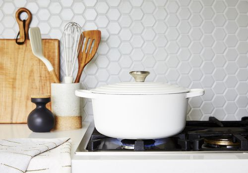 ceramic dutch oven on stove