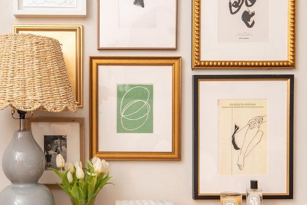 Gallery wall of art frames.