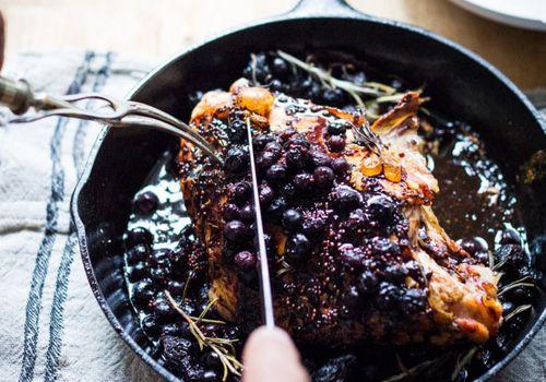 Roasted turkey with blueberry balsamic glaze