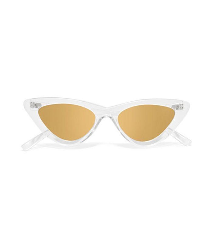 Le Specs Adam Selman The Last Lolita Cat-Eye Acetate Mirrored Sunglasses