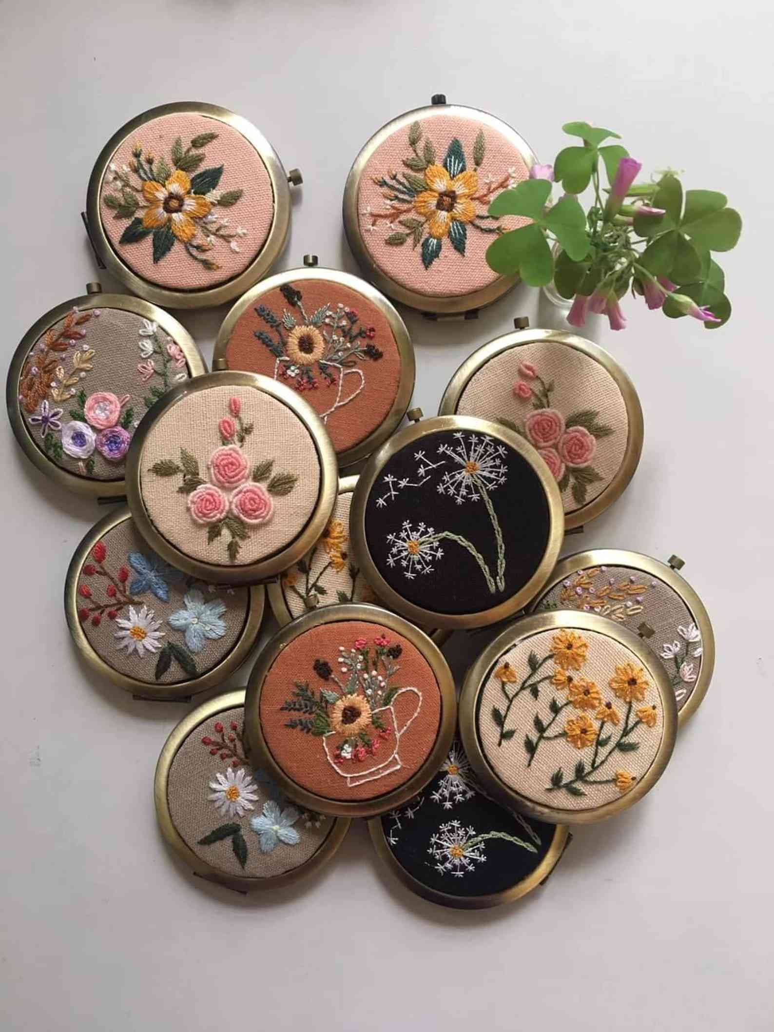 Floral Hand Embroidered Pocket Mirror
