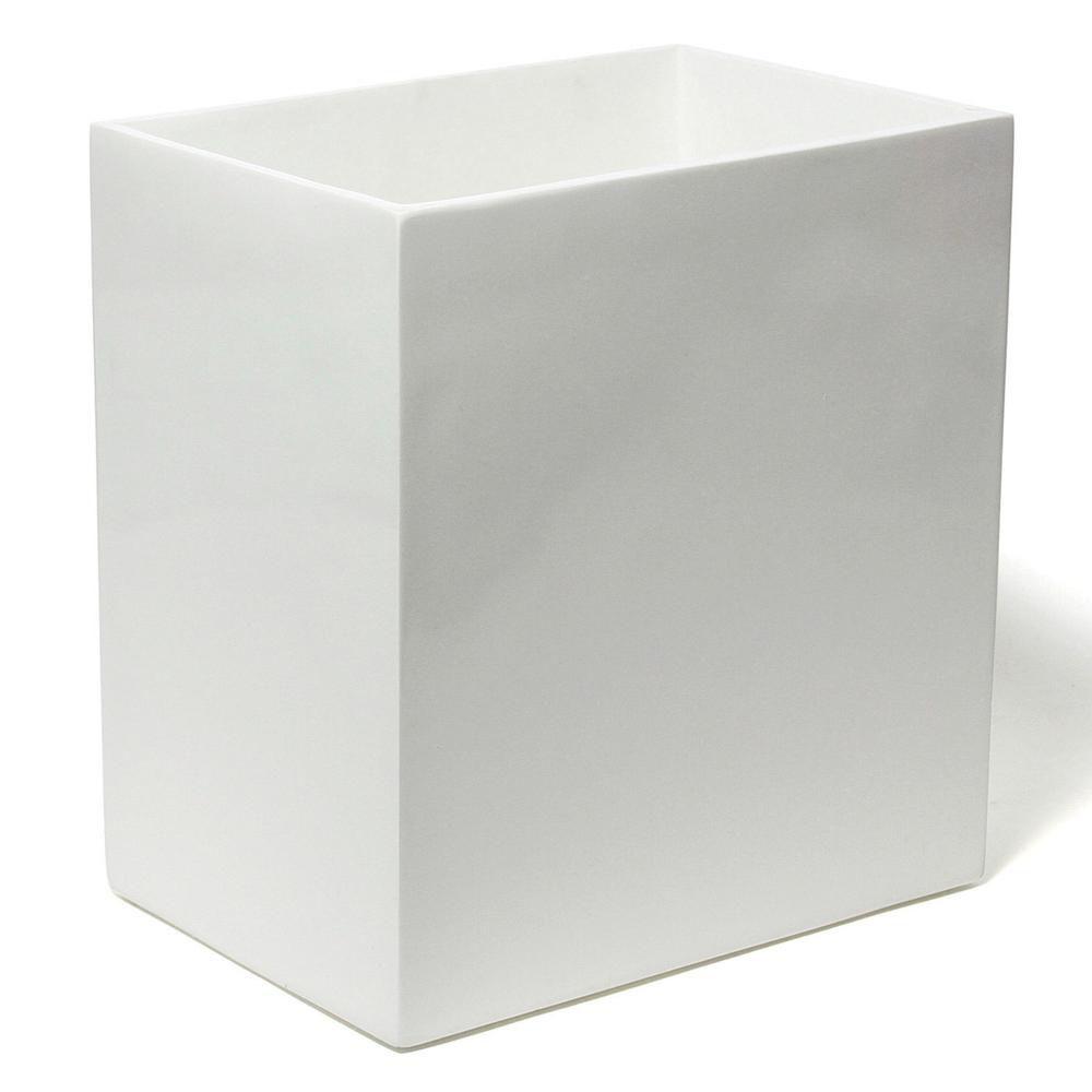 White lacquered wastebasket