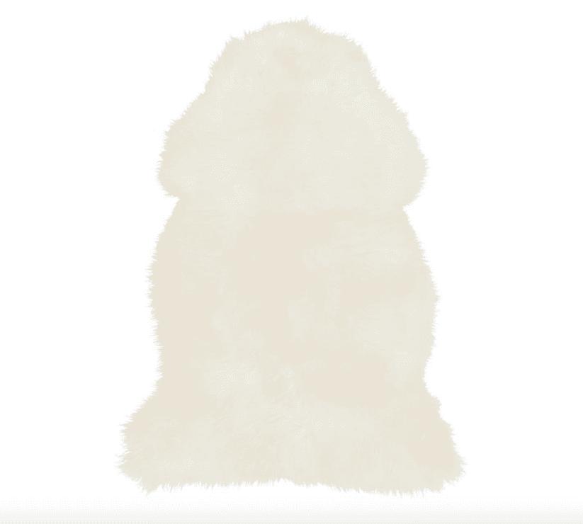 Single-Pelt Sheepskin Rug, 2x3', Ivory