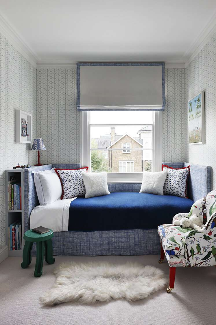 Day bed with blue bedding