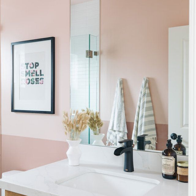 Pink mid-century modern bathrooms