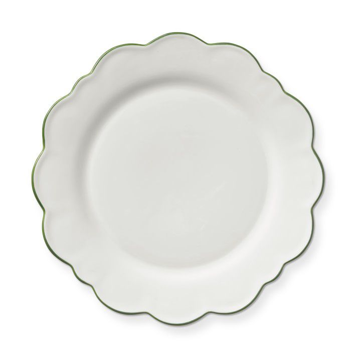 Scalloped Green Rim Dinner Plates, Set of 4