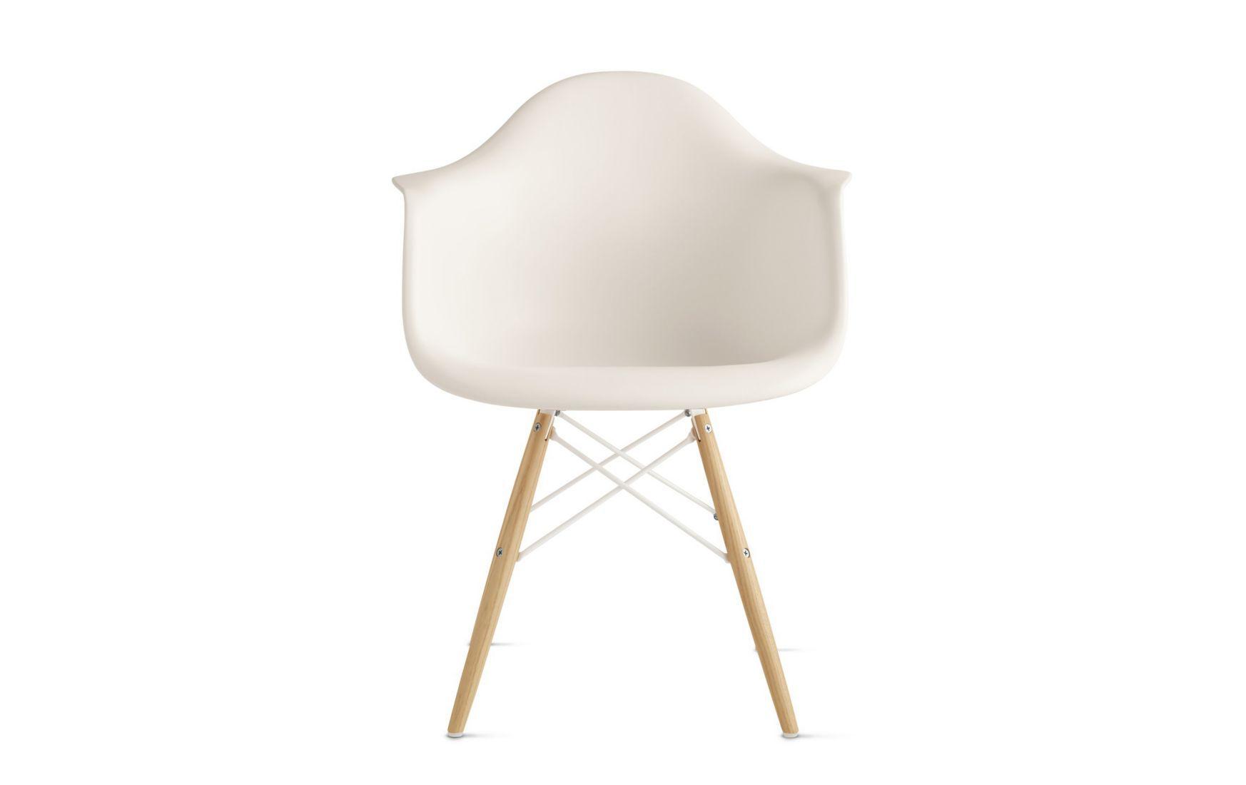 Eames Molded Plastic Dowel-Leg Armchair in white.