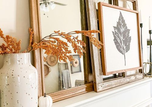 fall mantle with leaf print