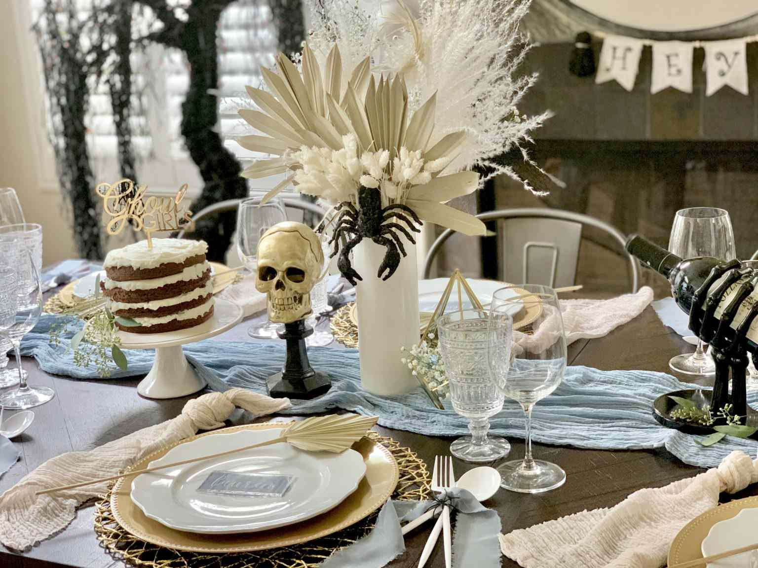 Table with skull